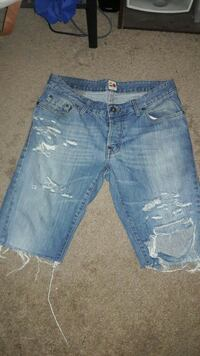 Homemade distressed shorts