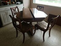 brown wooden hex table with padded chairs 5 piece dinette set Spokane, 99208