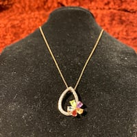 Vintage Sterling Silver Gold Vermeil Multi Stone Pendant with Chain Chantilly, 20151