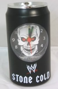 "Stone Cold Steve Austin Can Clock, 4 9/16"" tall x 2 1/2"" wide"