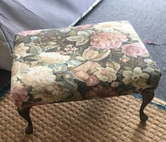 Small vintage floral footstool-good condition- can be reupholstered to match your style.