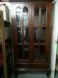 brown wooden display cabinet Sherwood Park, T8A 4J4