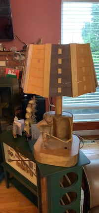 Hand carved wooden hockey themed lamp