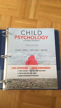 Child Psychology a Canadian perspective by younger, Adler and Vasta third edition loose leaf textbook  Vaughan, L6A 2L6