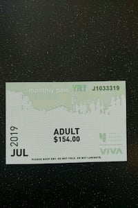YRT JULY MONTH PASS ADULT $154 VALUE
