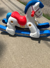 white and blue Fisher-Price ride on horse Deer Park, 11729