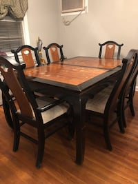 Vintage oriental rectangular brown wooden dining table with six chairs dining set and matching bar cart 212 mi