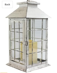 "Seraphic 13"" Country Style White Rustic Lantern & Flickering Flameless LED Candle & 4-Hour Timer Los Angeles, 91406"