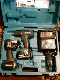 blue and black Makita cordless power drill with case Surrey, V3R 8Y9