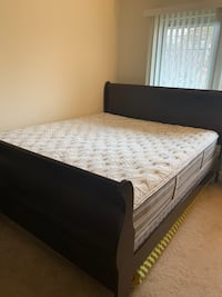 Cal king bed frame with box springs and mattress