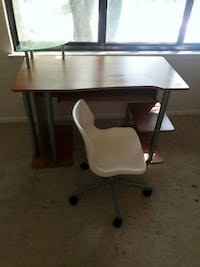 brown wooden desk with white rolling chair Burke, 22015