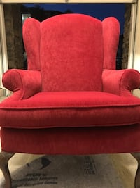 red fabric sofa chair with throw pillow Ashburn, 20147