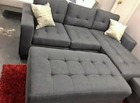 Brand New Grey Sectional with Ottoman Austin