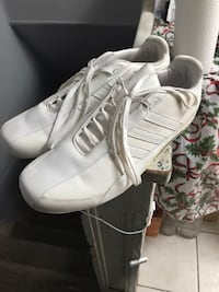 pair of white Adidas low top sneakers , L2G 0H8