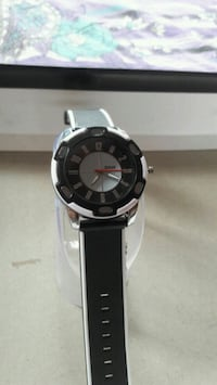 round silver-colored analog watch with black leather strap Kolkata, 700094