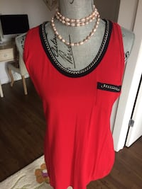 Red and black scoop-neck Top