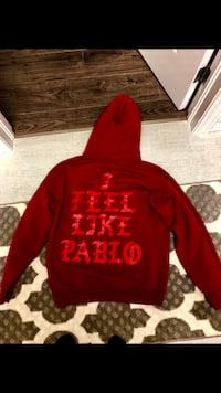 red and white pullover hoodie