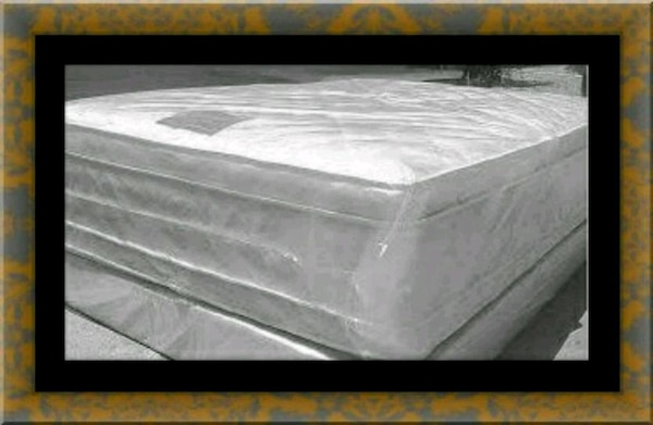 "Full 16"" double pillow top mattress with boxspring"