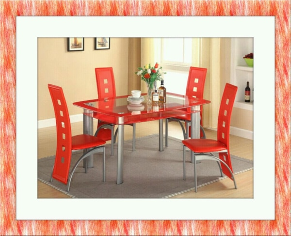 Glass red dining table with leather chairs