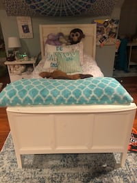 Twin bed frame, mattress, and box spring