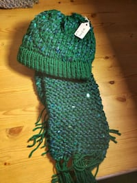 greens knitted hat and scarf  Calgary, T3E 6L5