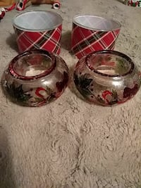 red and black ceramic and glass candle holderrs