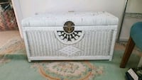 White Wicker Storage Trunk Shabby Cottage Chic Falmouth