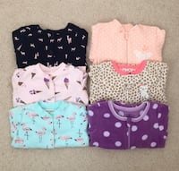 6 baby sleepers size 6-12 months- worn only a couple times Mississauga, L5M 0C5