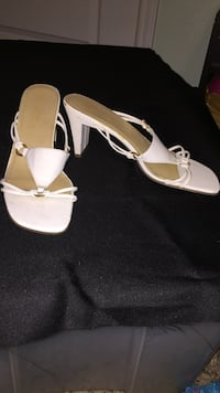 pair of white leather open-toe ankle strap heels Corpus Christi, 78414