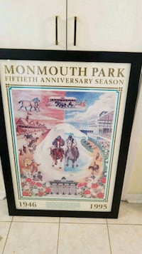 Monmouth racetrack poster with black wooden frame Asbury Park, 07712