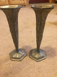 two brass candle holders De Forest, 53532