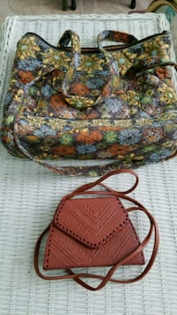 QUILTED TOTE BAG & HAND TOOLED LEATHER BAG
