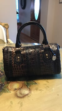 Black crocodile skin leather shoulder bag