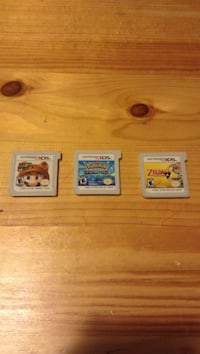 Three nintendo 3ds game cartridges