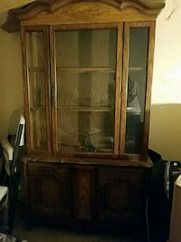 brown wooden framed glass display cabinet Brooklyn, 11238