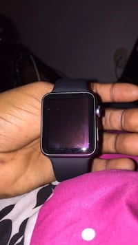 gray aluminum case Apple watch with black sports band