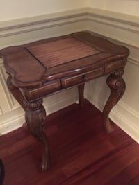 Rectangular brown and black wooden side table
