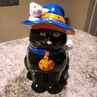 Cat and ghosts cookie jar