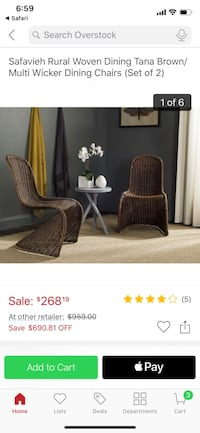 Wicker Dining chair (5 available)