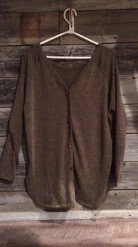 brown button-up v neck sweater