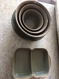 Green Ceramic Bowl Set