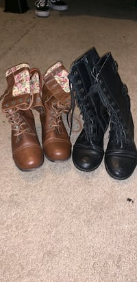 two pairs of black and brown leather boots 1946 mi