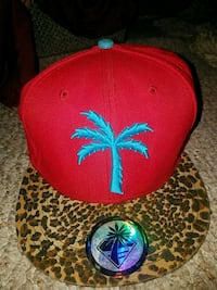 red and blue cannabis print fitted cap Long Beach, 90805