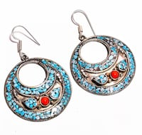 Round High Rise Earrings  Turquoise and Coral Set in Silver Handmade Whittier, 90602