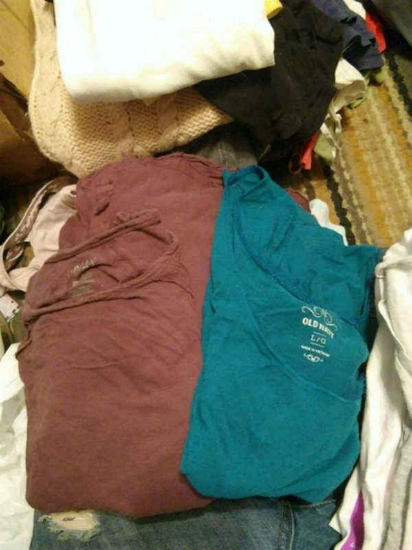 women's blue and brown pants