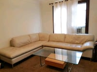 Pearl (off-white) leather sectional sofa Grosse Pointe Park