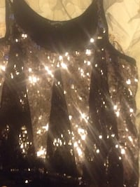 Additionelle black and sequinned top