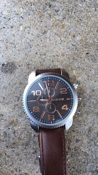 round black chronograph watch with brown leather strap Winder, 30680