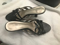 pair of black leather open toe ankle strap heels Albuquerque, 87114