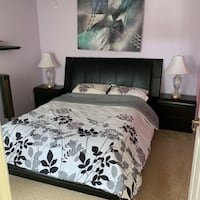 Queen Bed with Black Leather Platform Fort Myers, 33916